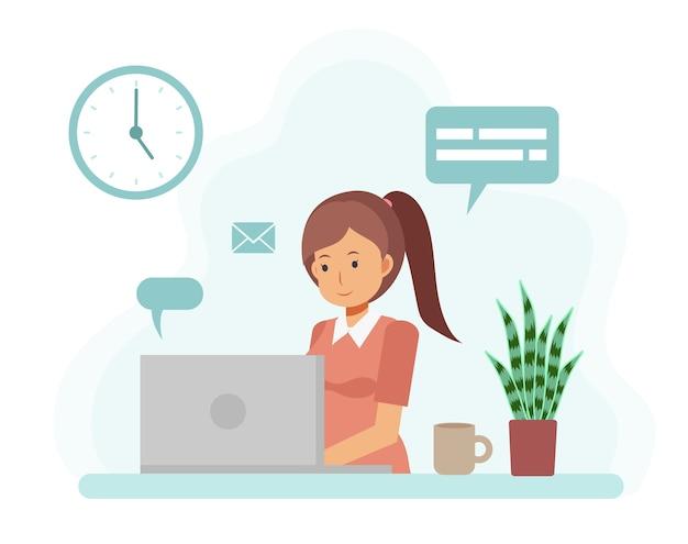Concepto de oficina en casa, mujer que trabaja desde casa con ordenador portátil. personaje de dibujos animados plano