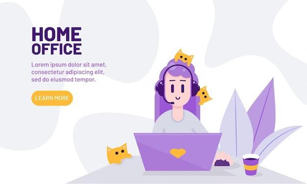 Concepto de oficina en casa. mujer que trabaja en línea en casa con mascotas. chica con laptop y gatos