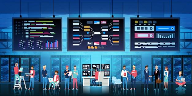 Concepto de oficina de desarrollo con sala de conferencias de centro de datos y cosas
