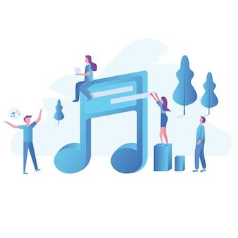 Concepto de oficina de la música gente de carácter empresarial