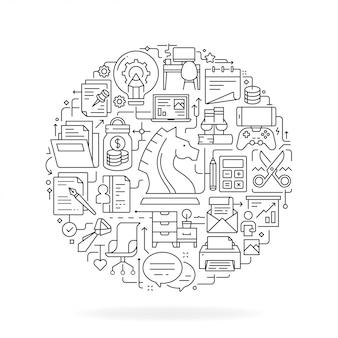 Concepto de oficina de negocios en ilustración plana delgada