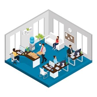 Concepto de oficina de servicio de soporte isométrico