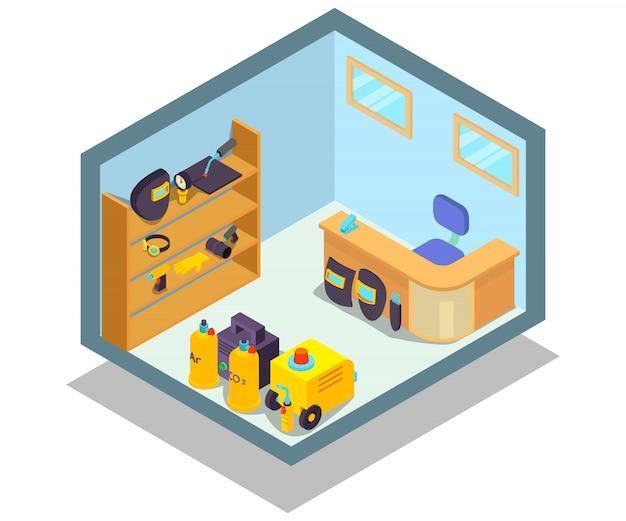 Concepto de oficina soldada escena