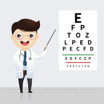 Concepto de oftalmología. oculista apuntando al gráfico de prueba ocular