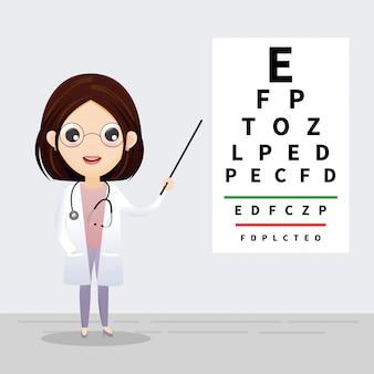 Concepto de oftalmología oculista apuntando a la tabla de prueba ocular. examen y corrección de la vista. vector, ilustración