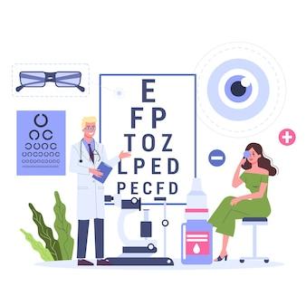 Concepto de oftalmología. paciente mujer en consulta con oftalmólogo. oculista apuntando a la tabla de prueba ocular. examen y corrección de la vista. ilustración