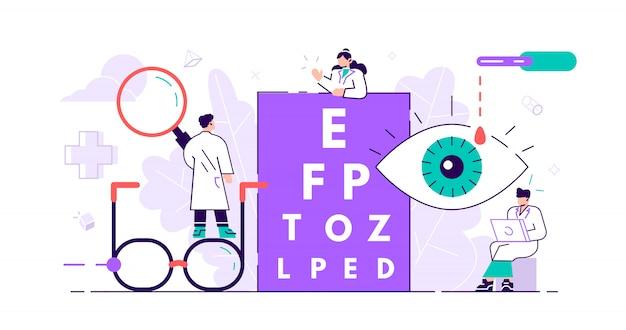 Concepto de oftalmología. pequeños ojos de salud. examen de examen de vista de lente abstracta