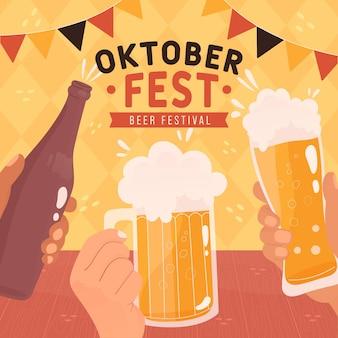 Concepto de oktoberfest dibujado a mano