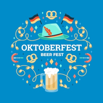 Concepto de oktoberfest de diseño plano