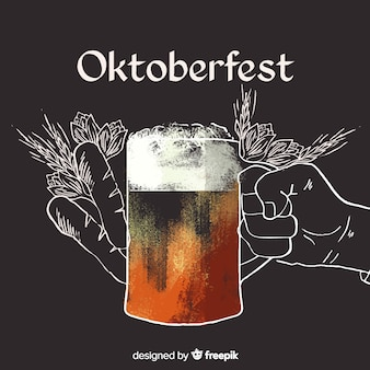Concepto de oktoberfest con fondo dibujado a mano
