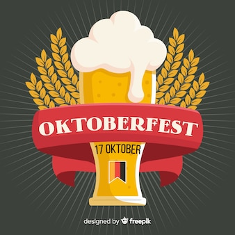 Concepto de oktoberfest con fondo de diseño plano