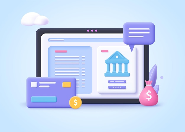 Concepto de operación bancaria, pagos de transacciones financieras, transferencias de dinero de banca en línea y cuenta bancaria, ilustración vectorial 3d