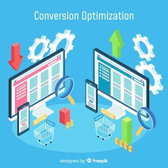 Concepto de optimizaciñon de conversión con vista isométrica