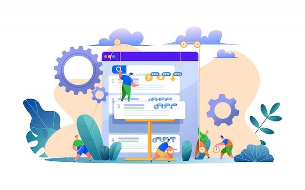 Concepto de optimización del motor de búsqueda del sitio web con el hombre construyendo la estructura de la página del sitio como constructor. concepto de servicios de seo, núcleo semántico, construcción de enlaces, estrategia de concentración de página. crecimiento del tráfico orgánico