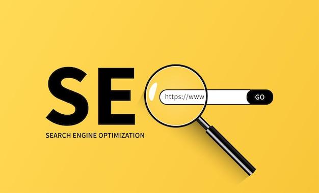Concepto de optimización de motor de búsqueda webseo con vector de lupa