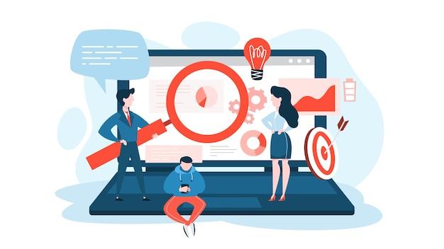 Concepto de optimización de motores de búsqueda o seo. estrategia de mercadeo