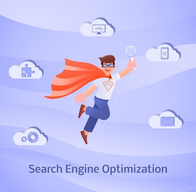 Concepto de optimización de motores de búsqueda.