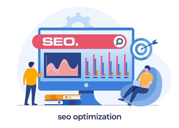 Concepto de optimización seo, desarrollo de sitios web, emprendedor, web de negocios, analista de datos, vector de ilustración plana