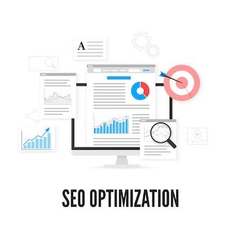 Concepto de optimización seo. diseño de analítica web. optimización de motores de búsqueda.