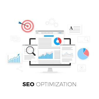 Concepto de optimización seo. estrategia de optimización de motores de búsqueda. analítica de datos. desarrollo y producción de contenido.