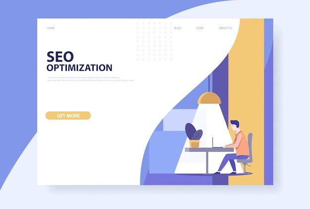 Concepto de optimización seo para web y móvil. página web. vector