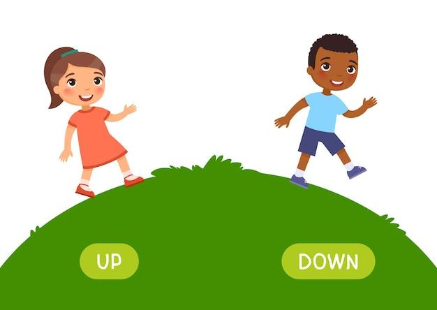 Concepto de opuestos hacia arriba y hacia abajo tarjeta de palabras para el aprendizaje del idioma inglés flashcard con antónimos