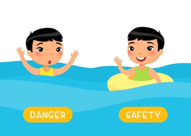 Concepto de opuestos seguridad y peligro flashcard con antónimos para plantilla de niños.