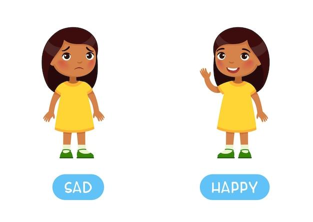 Concepto de opuestos tarjeta de palabra infantil feliz y triste con antónimos tarjeta flash para idioma extranjero