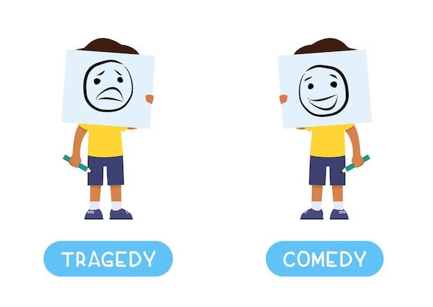 Concepto de opuestos tragedia y comedia tarjeta de palabra infantil con antónimos
