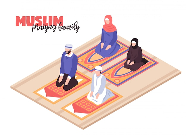 Concepto de oración de pueblo árabe con hombres y mujeres rezando isométrica