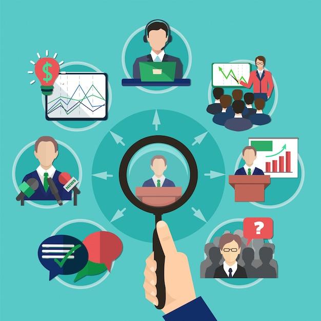 Concepto de orador de reunión de negocios