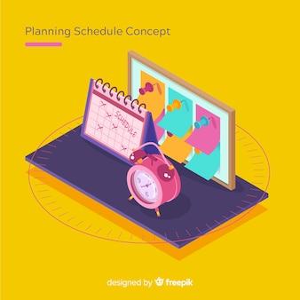 Concepto de organización de horario con perspectiva isométrica