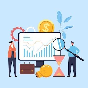 Concepto de organización de planificación de análisis financiero de desarrollo de estrategia de puesta en marcha de nuevos negocios empresariales.