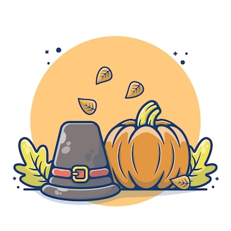 Concepto de otoño con calabaza y sombrero campesino