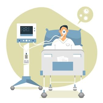 Concepto de paciente crítico de coronavirus