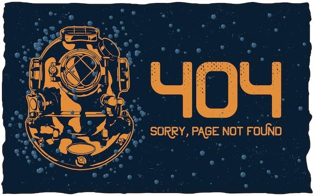 Concepto de página 404 no encontrada con casco de buzo y burbujas en la oscuridad