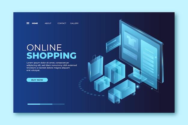 Concepto de página de aterrizaje de compras futurista en línea
