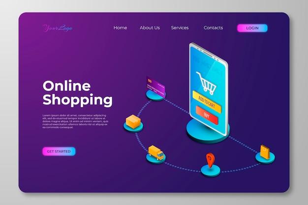 Concepto de página de aterrizaje de compras isométrica en línea