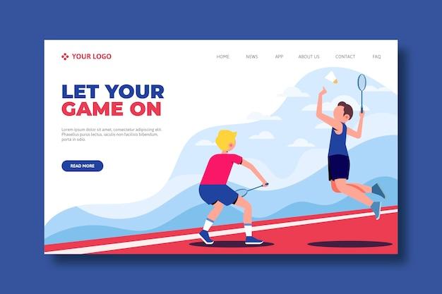 Concepto de página de aterrizaje de deporte al aire libre