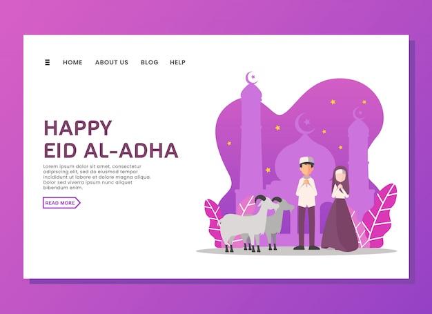 Concepto de página de aterrizaje de eid al adha
