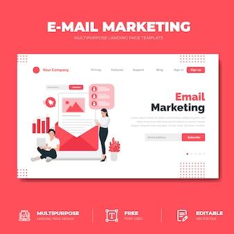 Concepto de página de aterrizaje de estrategia de marketing por correo electrónico