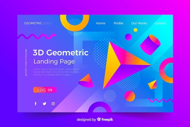 Concepto de página de aterrizaje con formas geométricas.