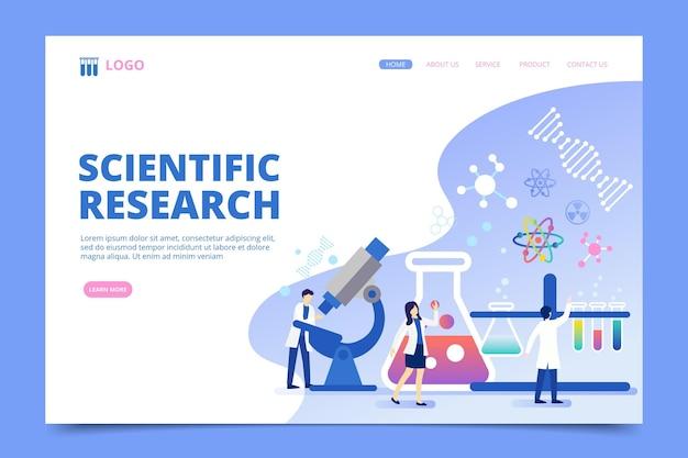 Concepto de página de aterrizaje de investigación científica