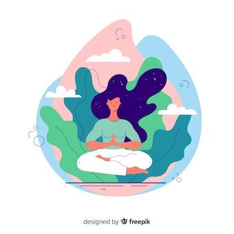 Concepto de página de aterrizaje de meditación