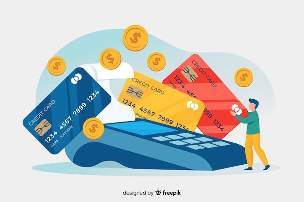 Concepto de página de aterrizaje pago con tarjeta de crédito