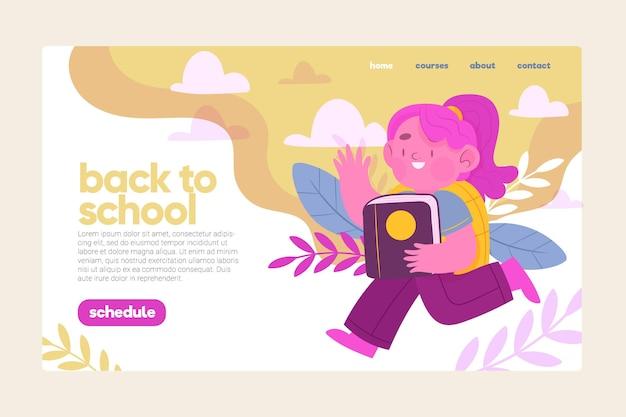 Concepto de página de aterrizaje de regreso a la escuela