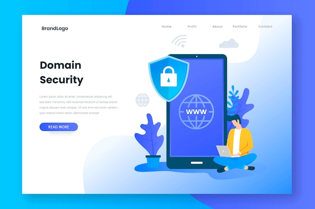Concepto de página de aterrizaje de seguridad de dominio