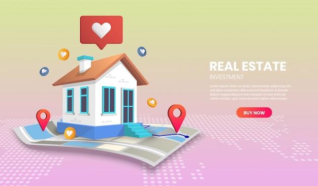 Concepto de página de destino de bienes raíces en el mapa vectorial. adecuado para la aplicación de banner.
