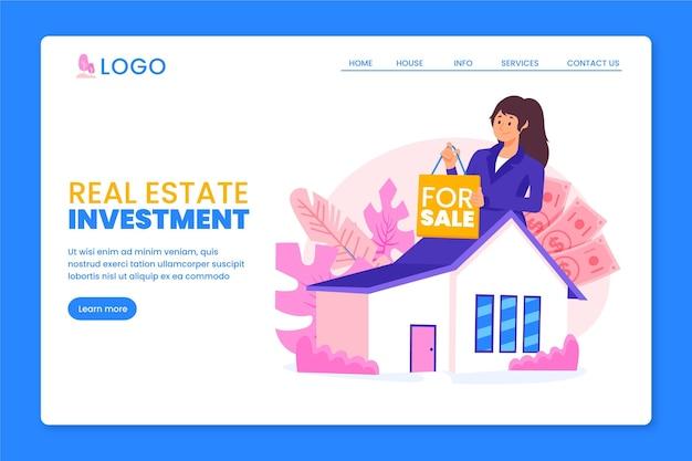 Concepto de página de destino de bienes raíces