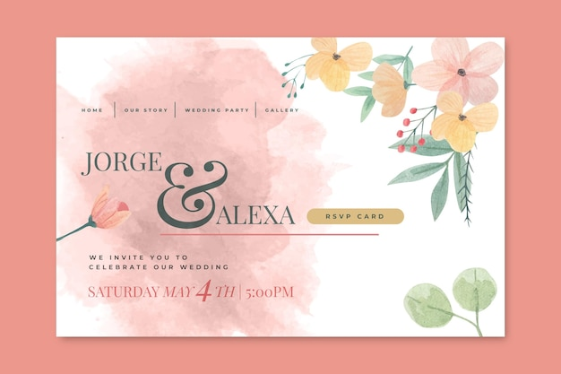 Concepto de página de destino de boda floral